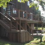 cedar wood deck with composite trim