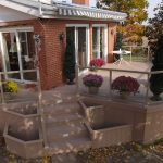 composite deck with built in flower beds